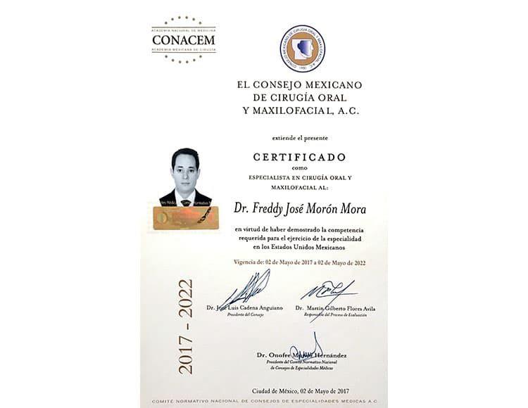 Certificado Consejo Mexicano de Cirugia Maxilofacial Dr Fredy